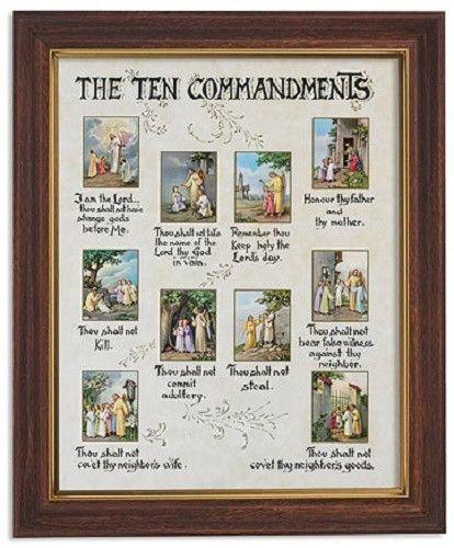 The Ten Commandments Print In Frame Under Glass Church Pinterest