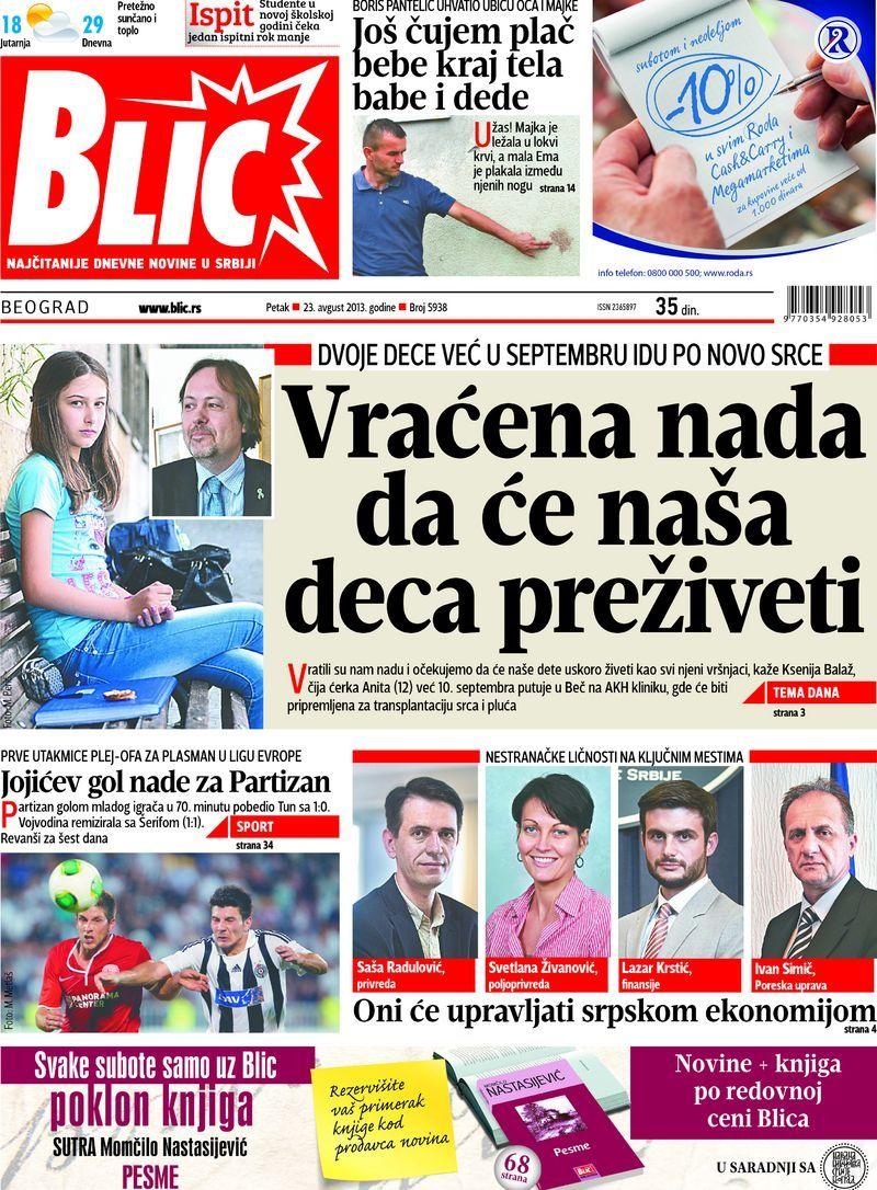 "Naslovna strana ""Blica"" za 23. avgust 2013."