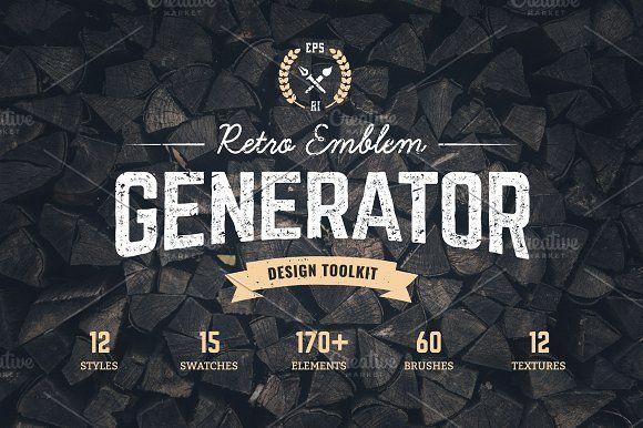 logo maker retro emblem generator by vecster on creativemarket rh pinterest com video game clan logo maker video game clan logo maker