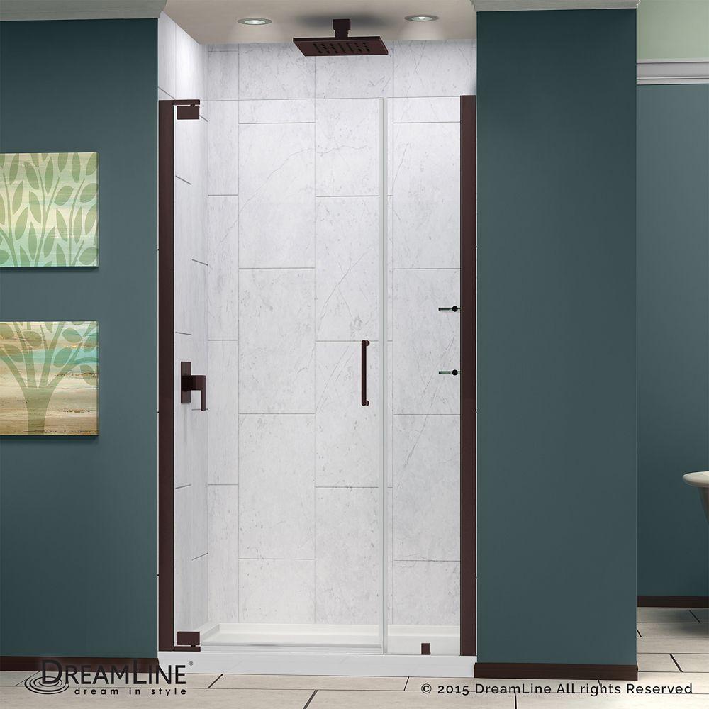 Elegance 37 1 4 Inch To 39 1 4 Inch X 72 Inch Semi Frameless Pivot Shower Door In Oil Ru Frameless Shower Doors Shower Doors Shower Door Installation