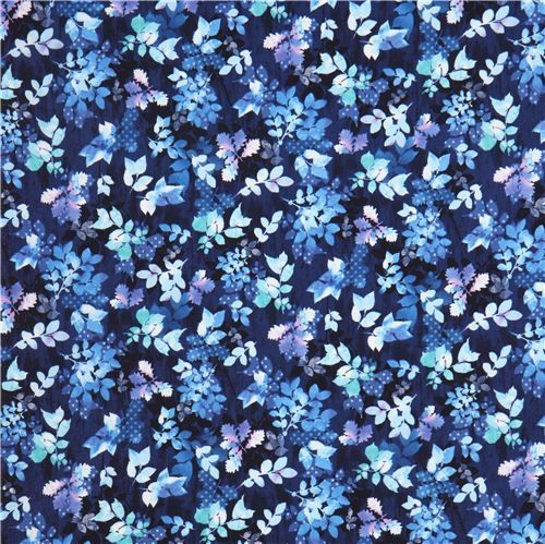 blue 'Garden Allure' spotted leaves fabric Cobalt  Robert Kaufman USA 3