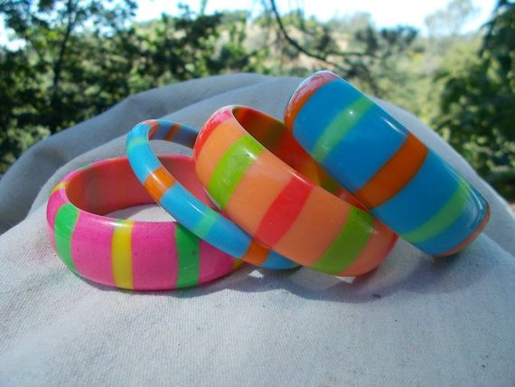 Drooooool..... Striped Bangles 60s Pop Colors Set of Four by lauriescustomthingz, $100.00
