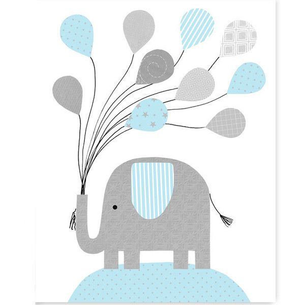 Nursery Wall Art Baby Blue and Gray Elephant Balloons Elephant Nursery... (1570 RSD) ❤ liked on Polyvore featuring home, home decor, wall art, home & living, home décor, light yellow, wall décor, wall hangings, framed wall art and canvas home decor