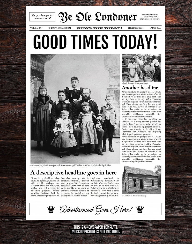 4 Page Newspaper Template Google Doc Etsy In 2020 Newspaper Template Newspaper Layout Old Newspaper