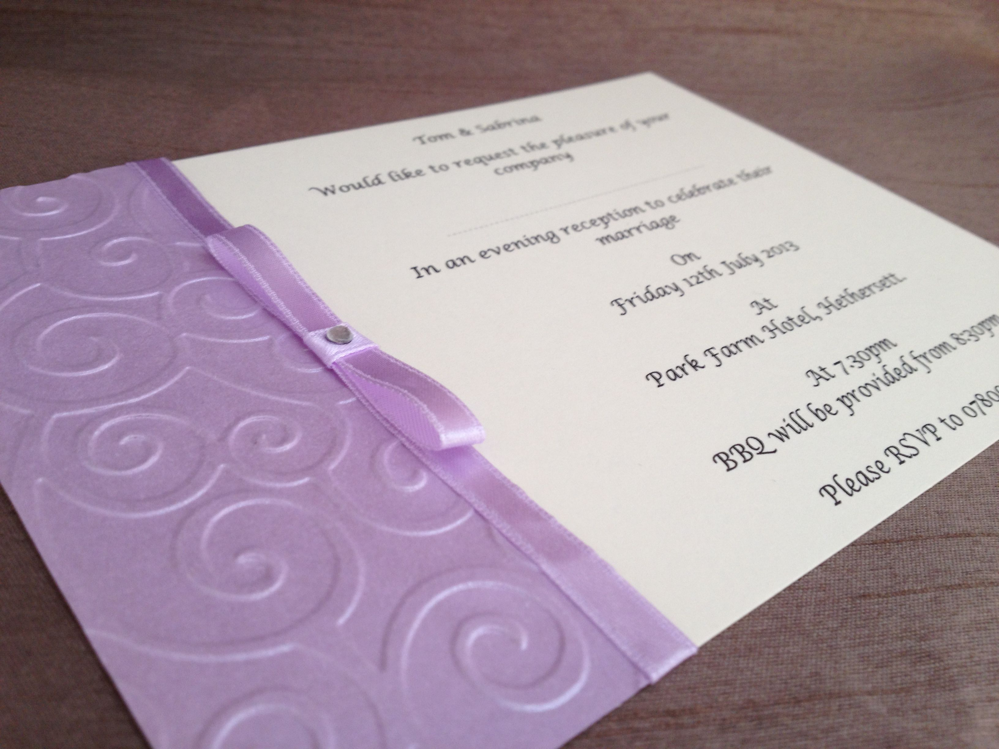 Embossed invitation £1.50 each Check out our facebook page Www ...