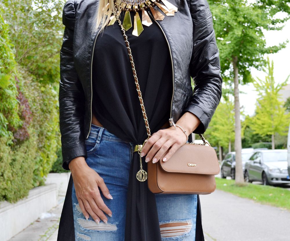 www.blonde-concept.com Denim by Zara, Shirt by Black Mama, Leather Jacket by H&M, Bag by DKNY, Necklace by H&M #fashionblogger