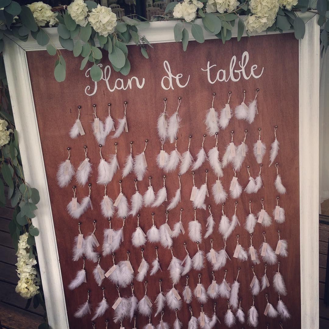 «A chacun sa plume... #lescraneuses #mariage #wedding #mariageboheme #plandetable #weddingdesign #mrandmrslaurent2015»