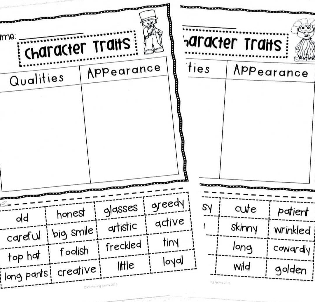 Character Trait Sorting Activities No Prep