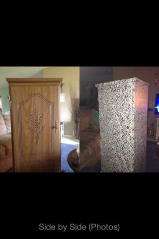 I put contact paper on this cabinet I got for free a year ago. Pretty easy to do, it only took one roll. Make sure you do this project in a well ventilated area.   Here are the before/after pictures!