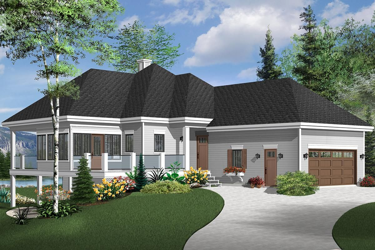 House Plan 034-01197 - Lake Front Plan: 2,596 Square Feet, 4 Bedrooms, 3  Bathrooms | Narrow lot house plans, Cottage house plans, House plans