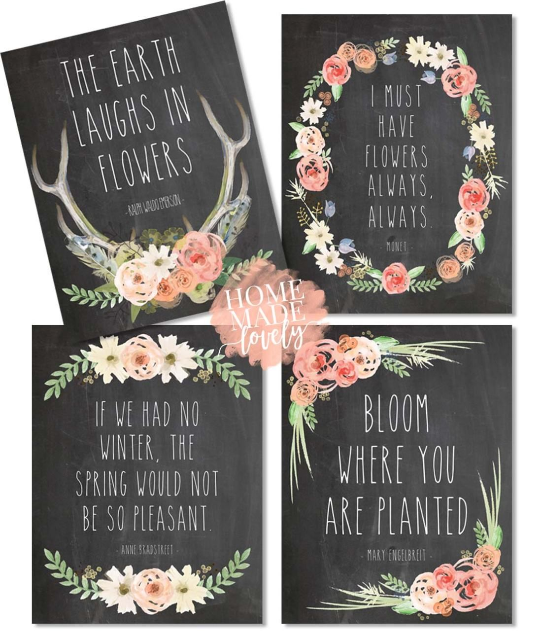 8 Brand New Free Spring Printables  Spring Quotes, Watercolors & Chalkboards is part of Spring printables free, Spring printables, Spring quotes, Free printable art, Free chalkboard printables, Free artwork - Please accept these 8 brand new free spring printables as our way of saying thank you for coming to Home Made Lovely again and again  We appreciate you, more than you know!
