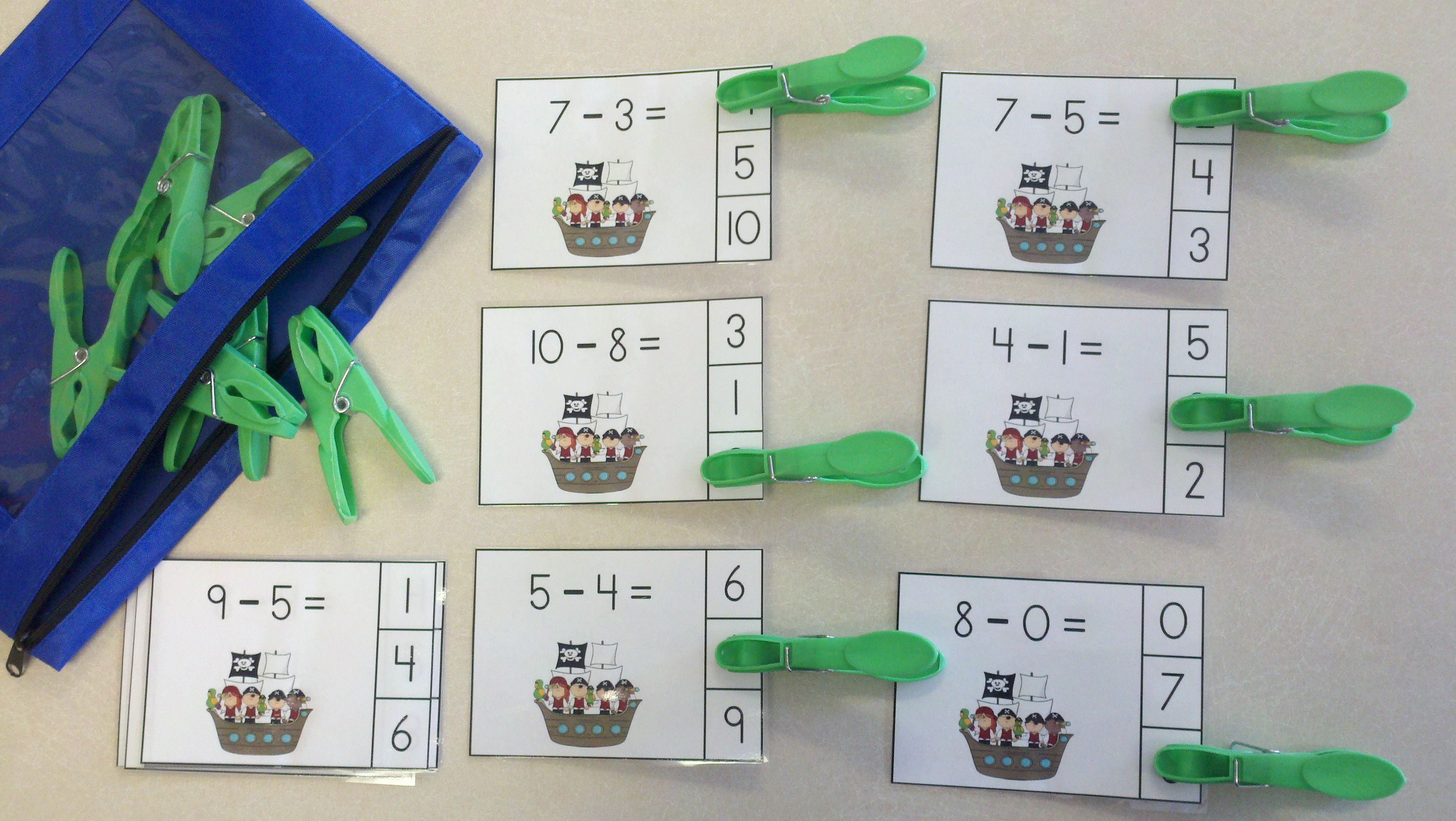 Pirates And Parrots Subtraction Math Centers Minuends To