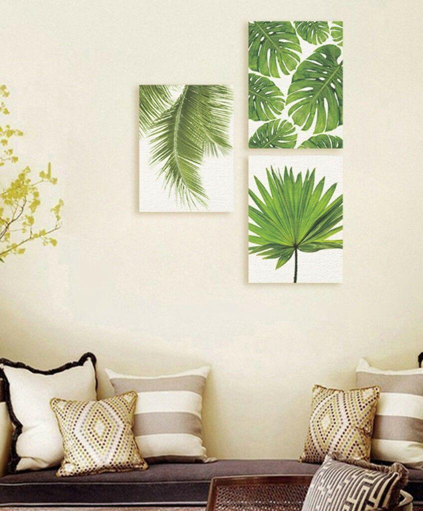 Frameless Modern Green Plant Leaf Art Canvas Oil Painting Print Wall Decor S M L Ebay Wall Canvas Painting Green Wall Art Home Decor Paintings