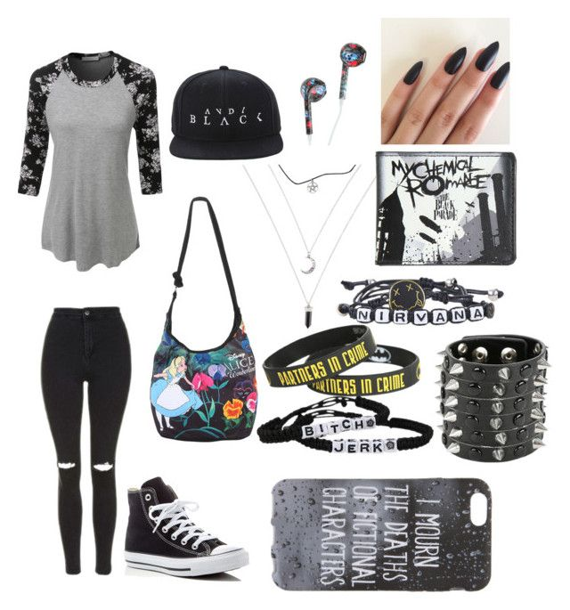 """Untitled #413"" by the-cute-psycho21 on Polyvore featuring LE3NO, Topshop and Converse"