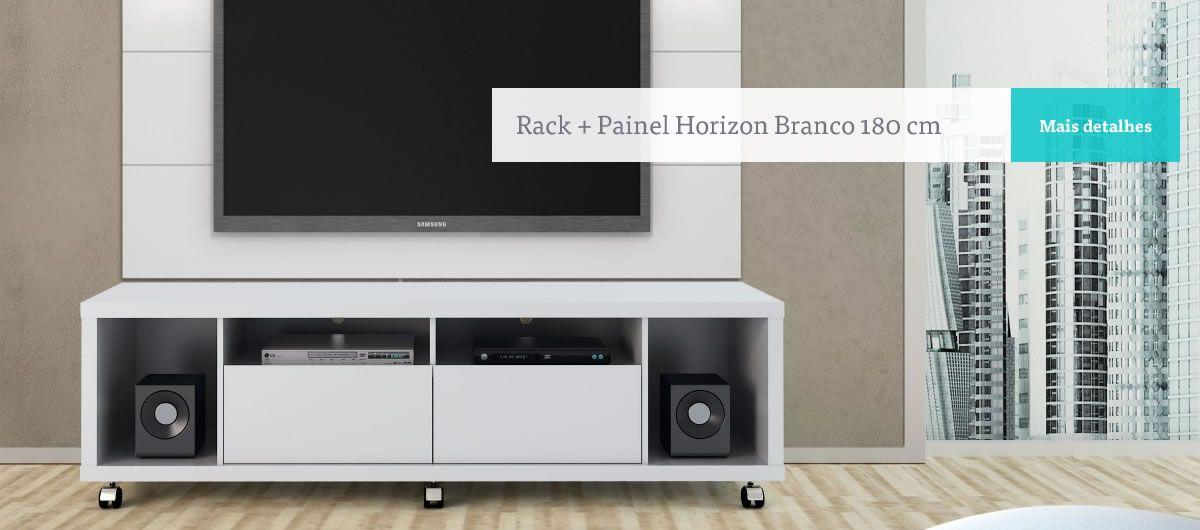 Rack mais painel Horizon Branco 180cm