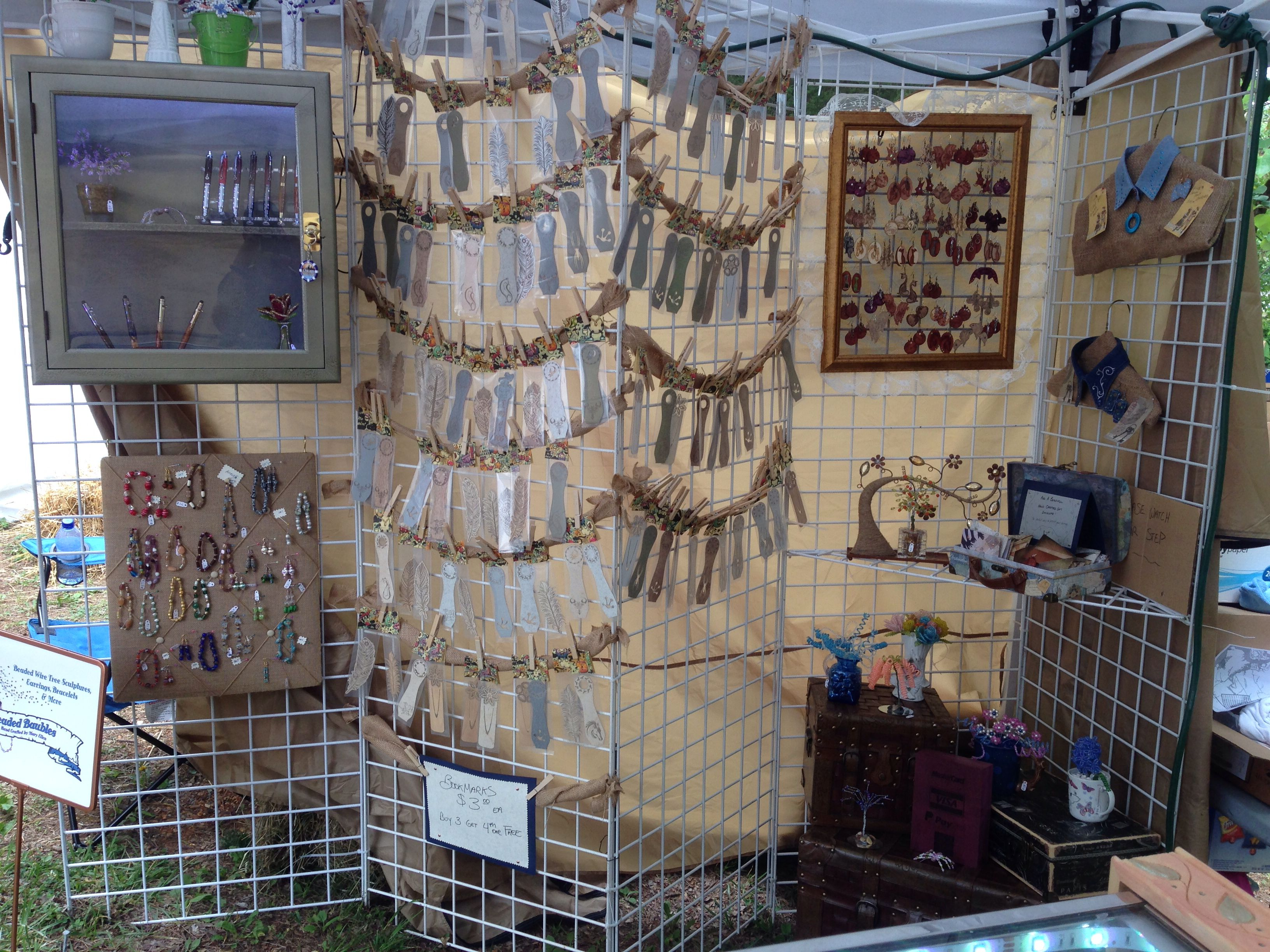 Our first #crafts #booth here you can see our bookmark display using clothes pins and burlap. #lenoircityartsandcraft