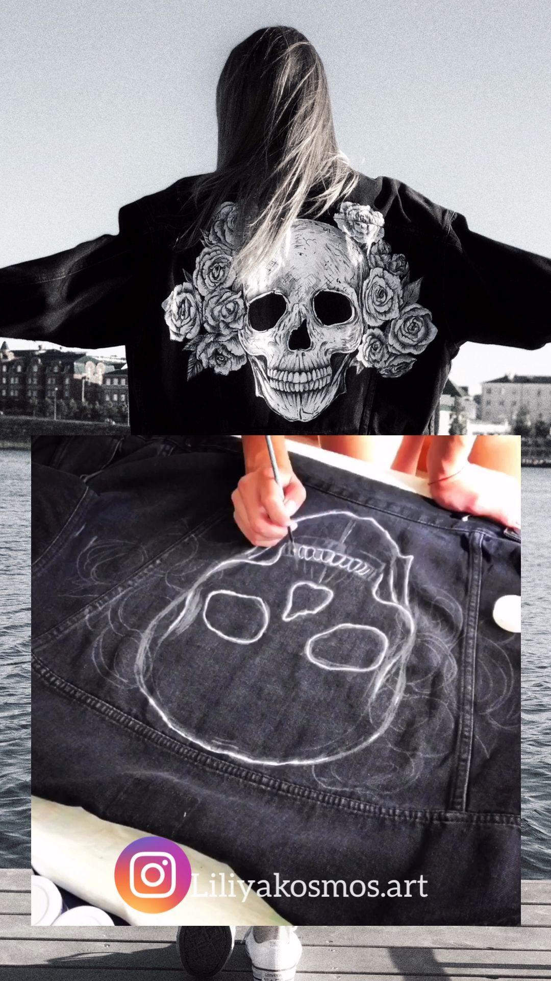 Sugar Skull hand painted custom jacket calavera dia de los   Etsy,  #calavera #custom #dia #E...