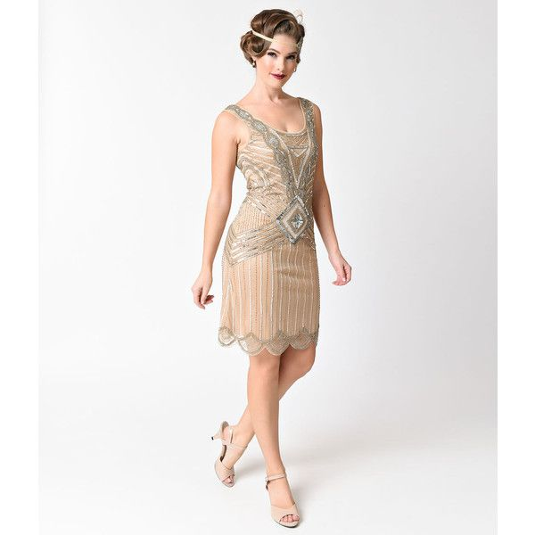 Frock and Frill 1920s Gold & Nude Sequin Beaded Athena Flapper Dress ...