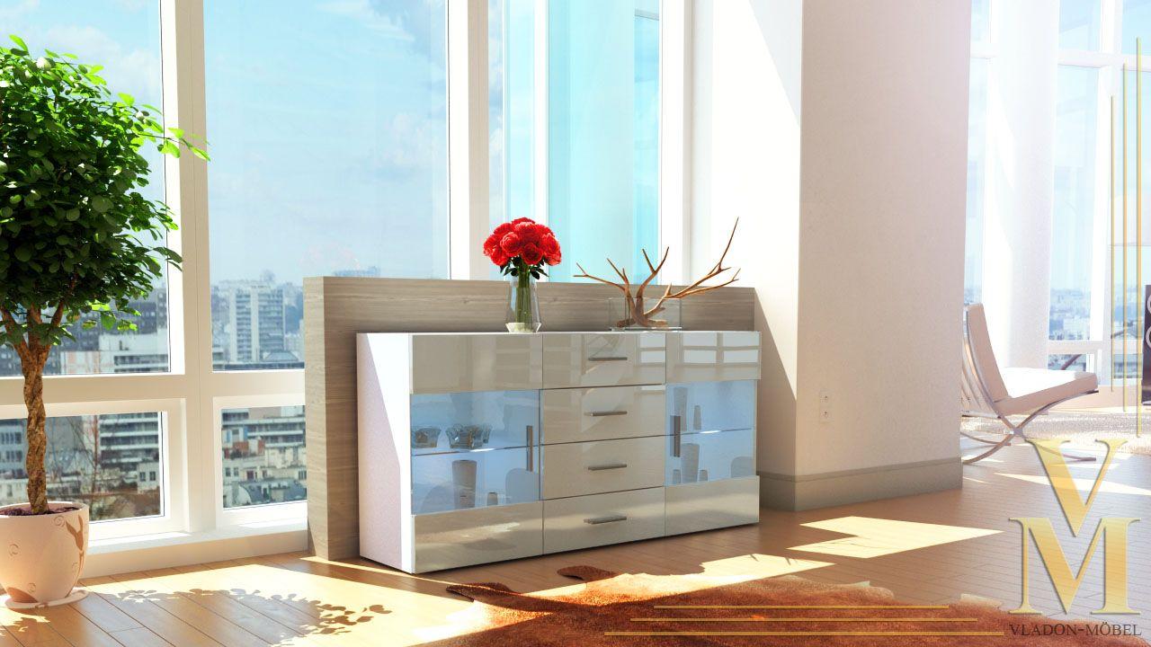 Modern Sideboard Buffet Server Storage Cabinet Chest Bari In White
