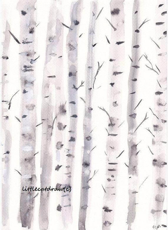 Little Birch Trees - Watercolor Painting - Art Print - Archival Art Print