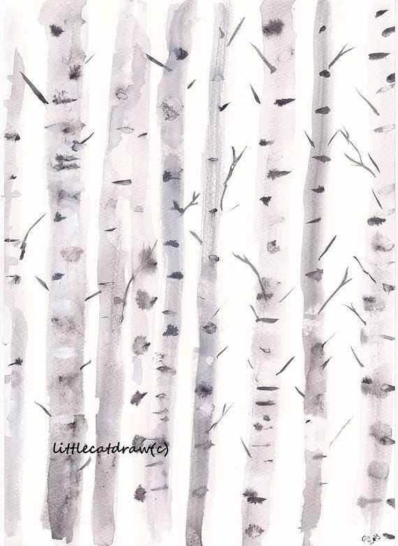 Birch Tree Print Winter Birch Trees Watercolor Painting Hygge