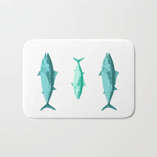 Nautical Tuna Bath Mat Personalized Color Small Large ETSY BEST - Small bath mat for bathroom decorating ideas