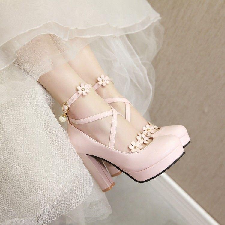 Flower Petals Princess Cross Straps High Heels Shoes
