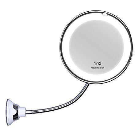Kedsum Miroir 10 Grossissant Lumineux 11 5 Pouces 27 9cm Extension Pliable Luminere Led Ventouse D Att Miroir Maquillage Miroir Grossissant Miroir De Poche