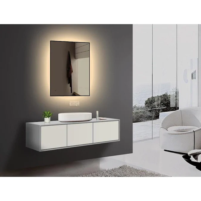 lighted IMPRESSIONS Shadows 23.625-in Black Rectangular Lighted LED Bathroom Mirror Lowes.com