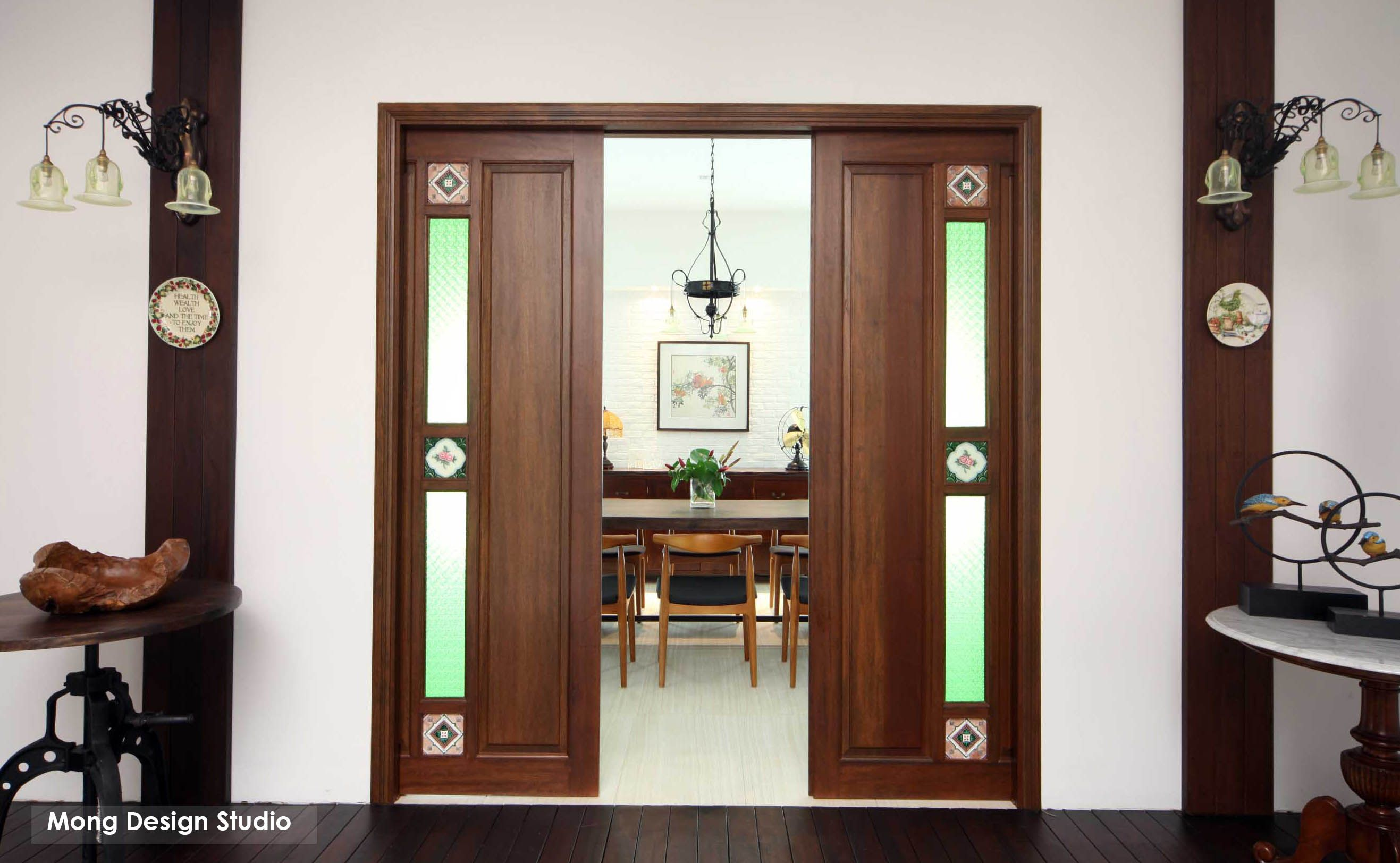 Dining Room Greeted With A Double Sliding Door Antique Peranakan Tiles And Green Stain Glass