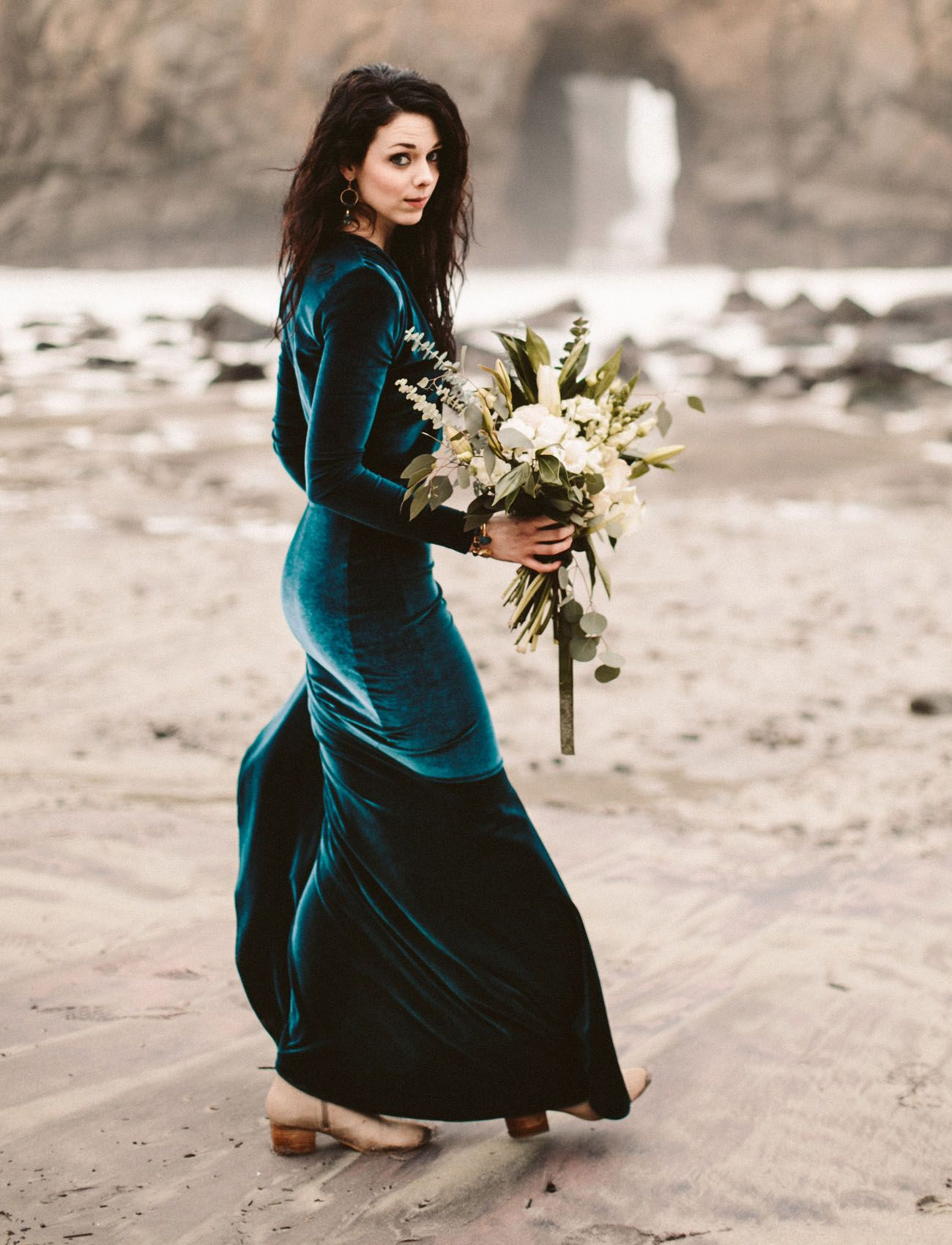 0bf738a5066 The Bride Wore a Teal Velvet Wedding Dress in this Big Sur Elopement ...