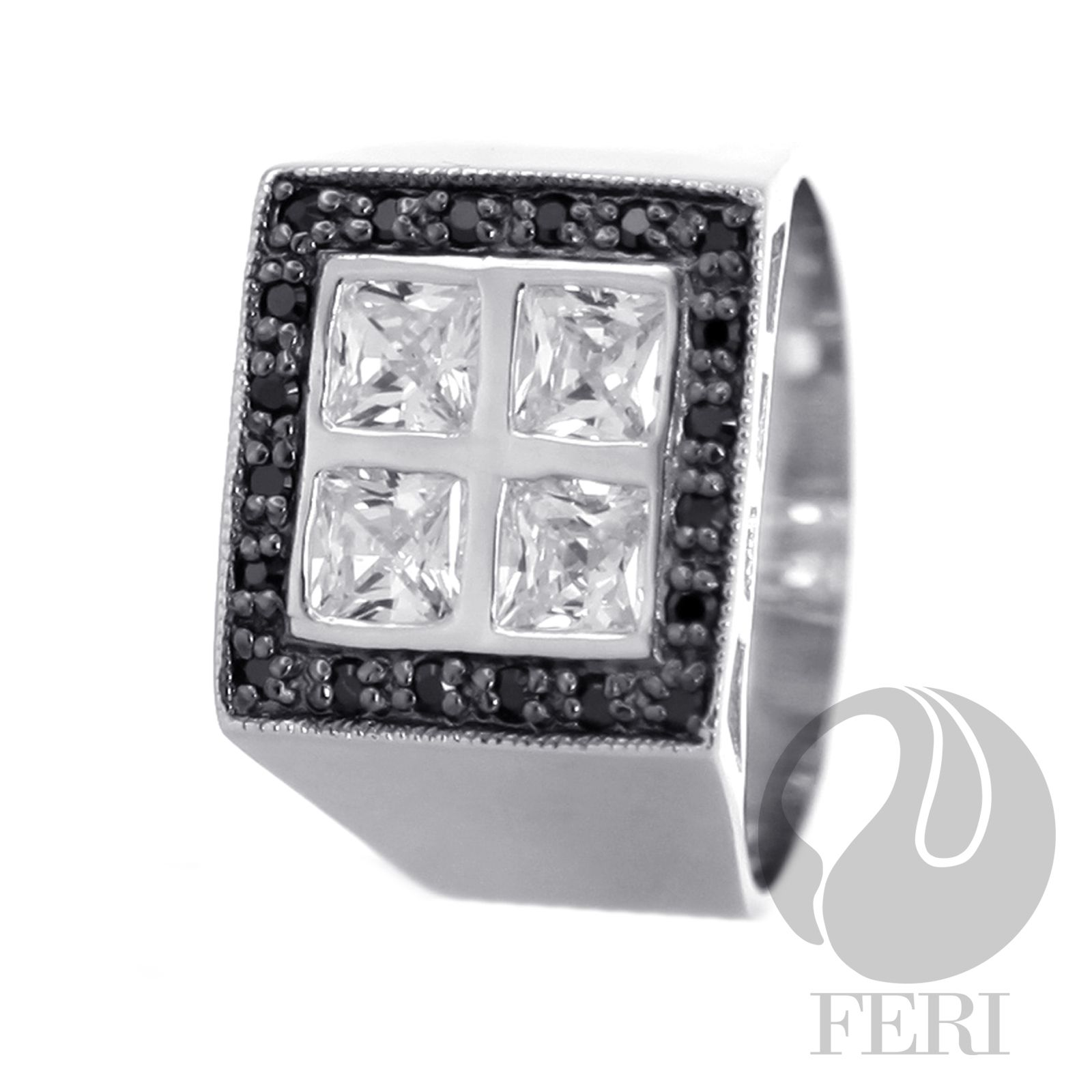 """Description   Reviews (0) - 950 fine sterling silver - 0.5 micron natural rhodium plating - Set with AAA white cubic zirconia and black AAA cubic zirconia - Dimension: 5/8"""" X 1.00"""" - Wt. 11.52/gm - Size SQ. 5mm  Invest with confidence in FERI Designer Lines"""