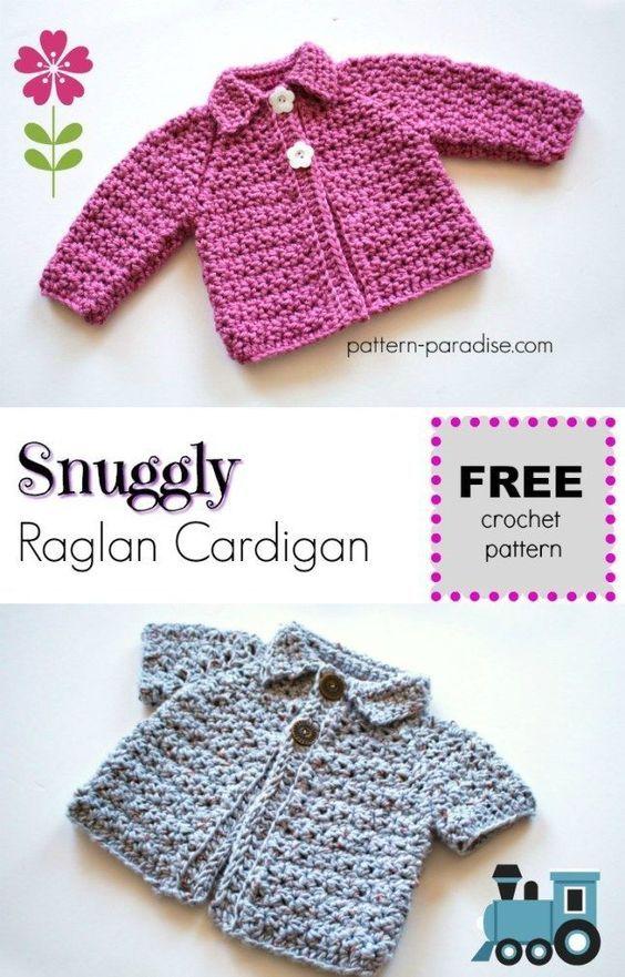 Free Crochet Pattern: Snuggly Raglan Cardigan   crochet   Pinterest ...