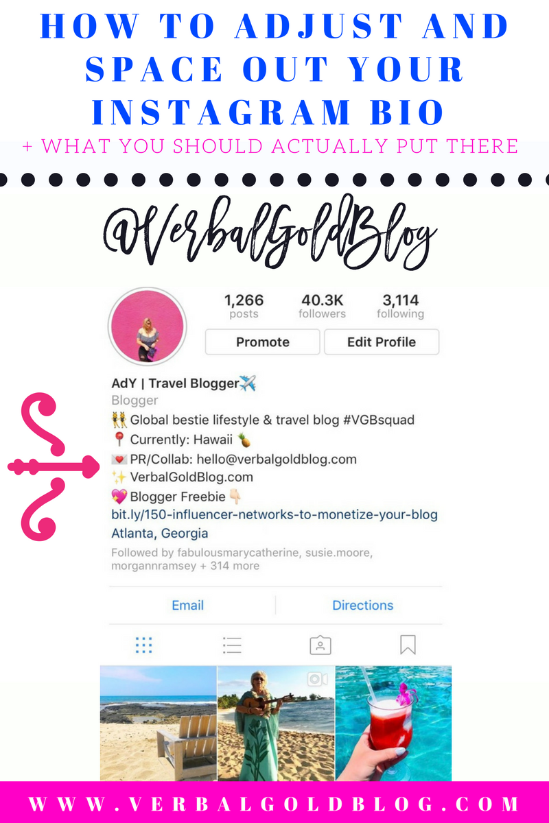 How To Adjust And Space Out Your Instagram Bio What You Should Actually Put There Verbal Gold Blog Instagram Bio Instagram Business Bio Space