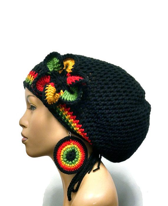 MADE TO ORDER Black Rasta Hat Slouch hat/deadlock hat with ...