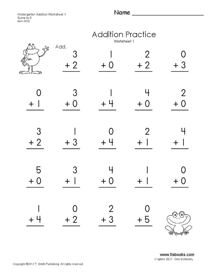 addition homework – Tlsbooks Kindergarten Worksheets