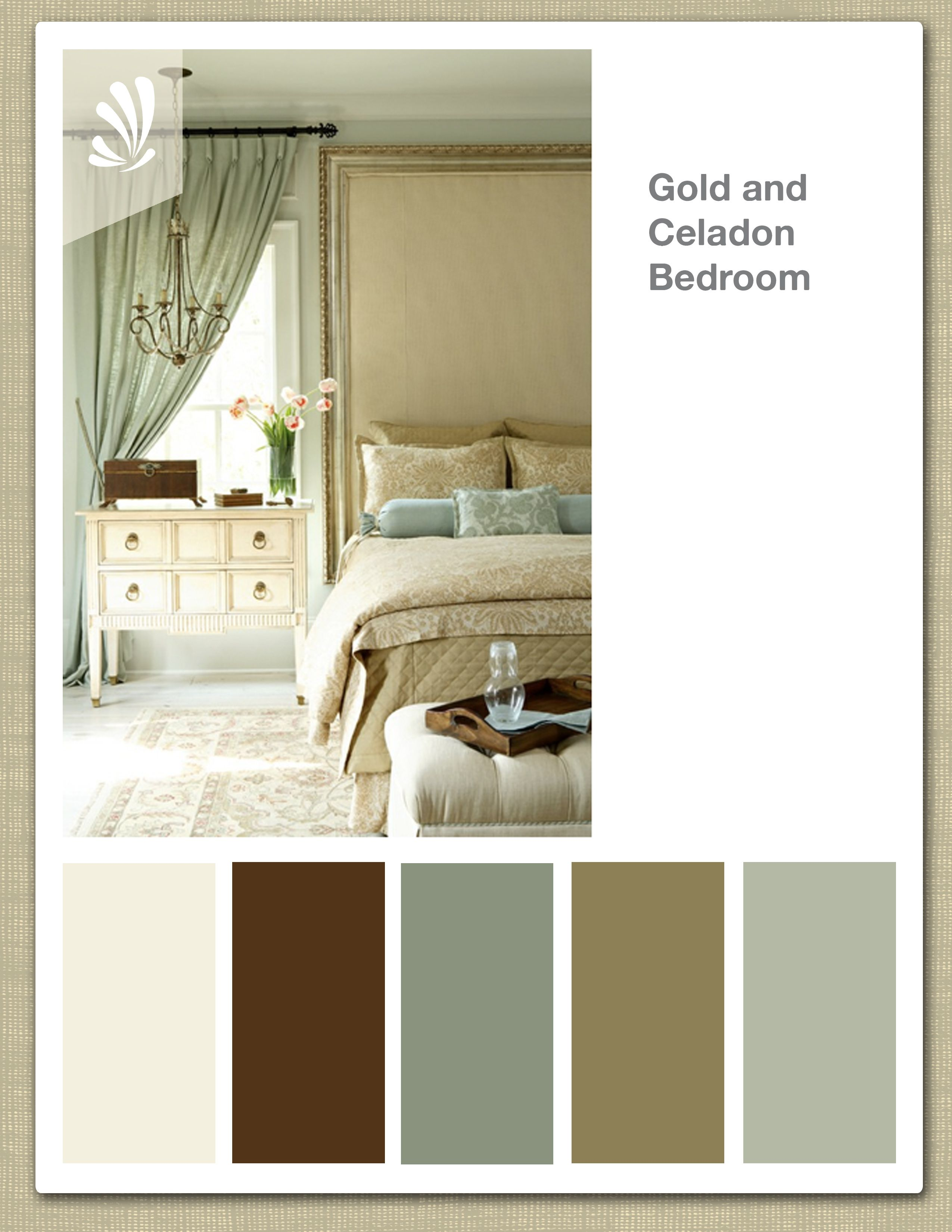 Gold Celadon Cream Butterscotch Color Palette Elegant Bedroom