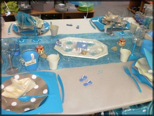 """Une déco de table toute bleu type """"marin"""" voire """"plage"""" Sympa pour"""