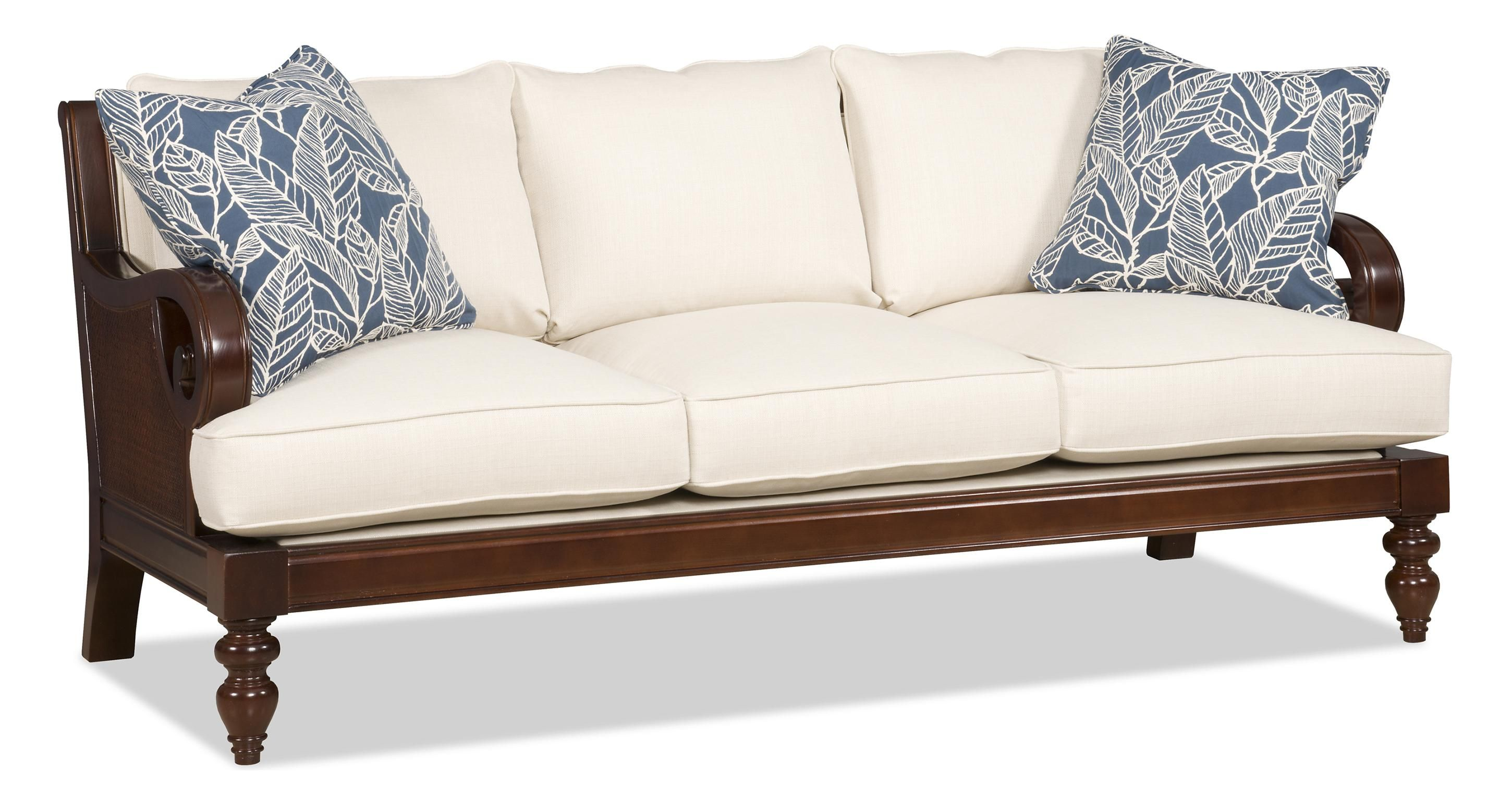 Tropical Sofa With Exposed Wood And Scrolled Arms This