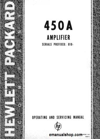 Hewlett Packard(HP) Amplifier 450A Service Manual Download