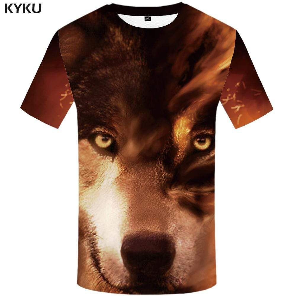 Photo of KYKU Wolf T shirt Men Animal Tshirts Print Funny Tshirt Anime Harajuku T-shirt 3d T shirts Funny Mens Fashion Short Sleeve – 2XL