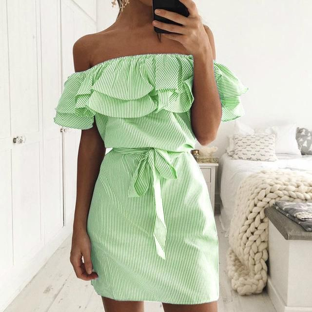 Casual Summer Dress Women Clothes 2019 Sexy Off Shoulder Backless Ruffles Dresses Short Vestidos De Festa Verano Robe Femme Ete is part of Clothes Verano The Dress - Brand Name Liva girl Material Polyester Style Casual Silhouette Straight Pattern Type Striped Sleeve Length(cm) Short Decoration Ruffles Dresses Length Above Knee, Mini Sleeve Style Off the Shoulder Waistline Empire Neckline Slash neck Season Summer Model Number Summer Dress 0304 Place Of Origin China (Ma