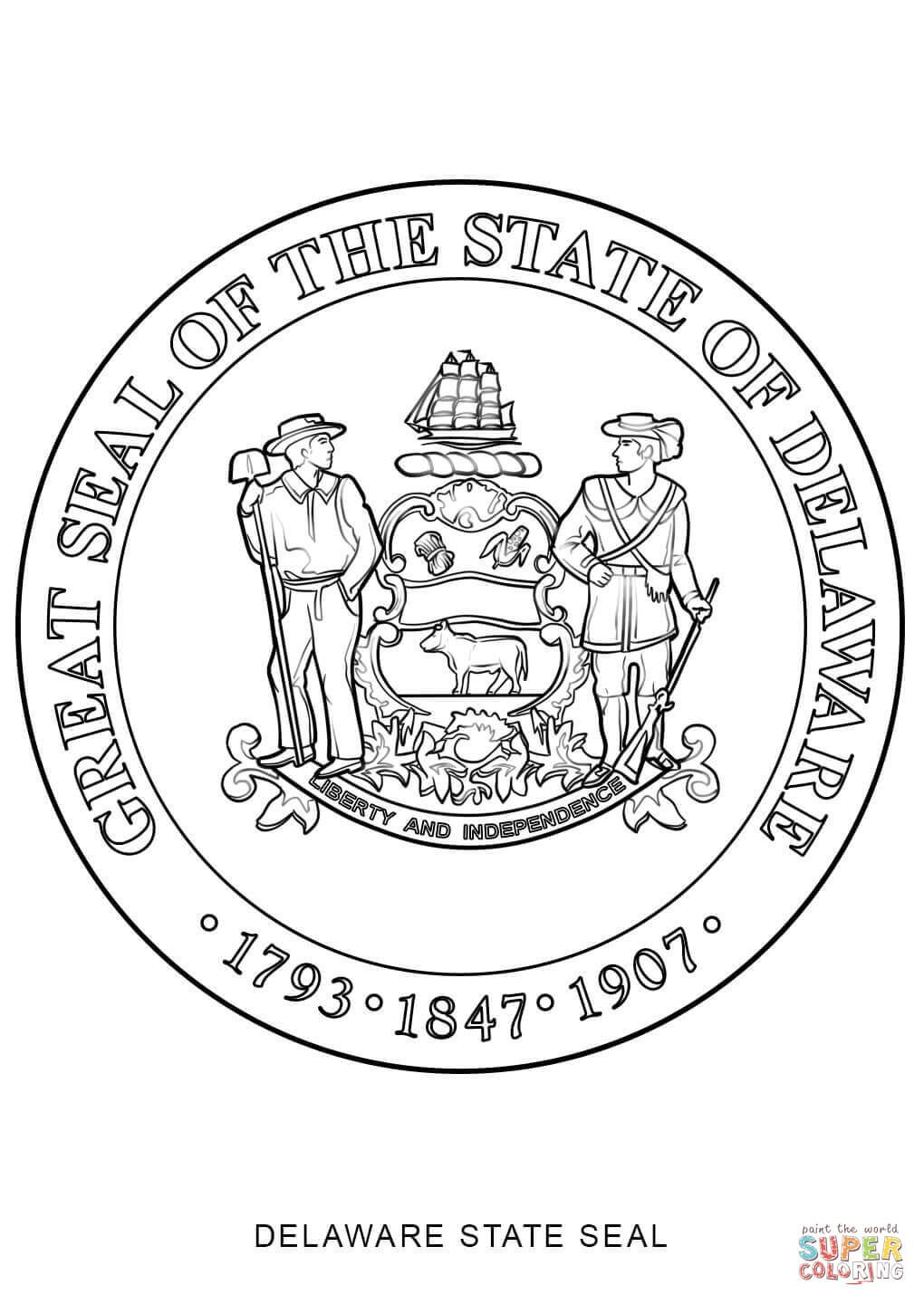 Click The Delaware State Seal Coloring Pages To View Printable Version Or Color It Online