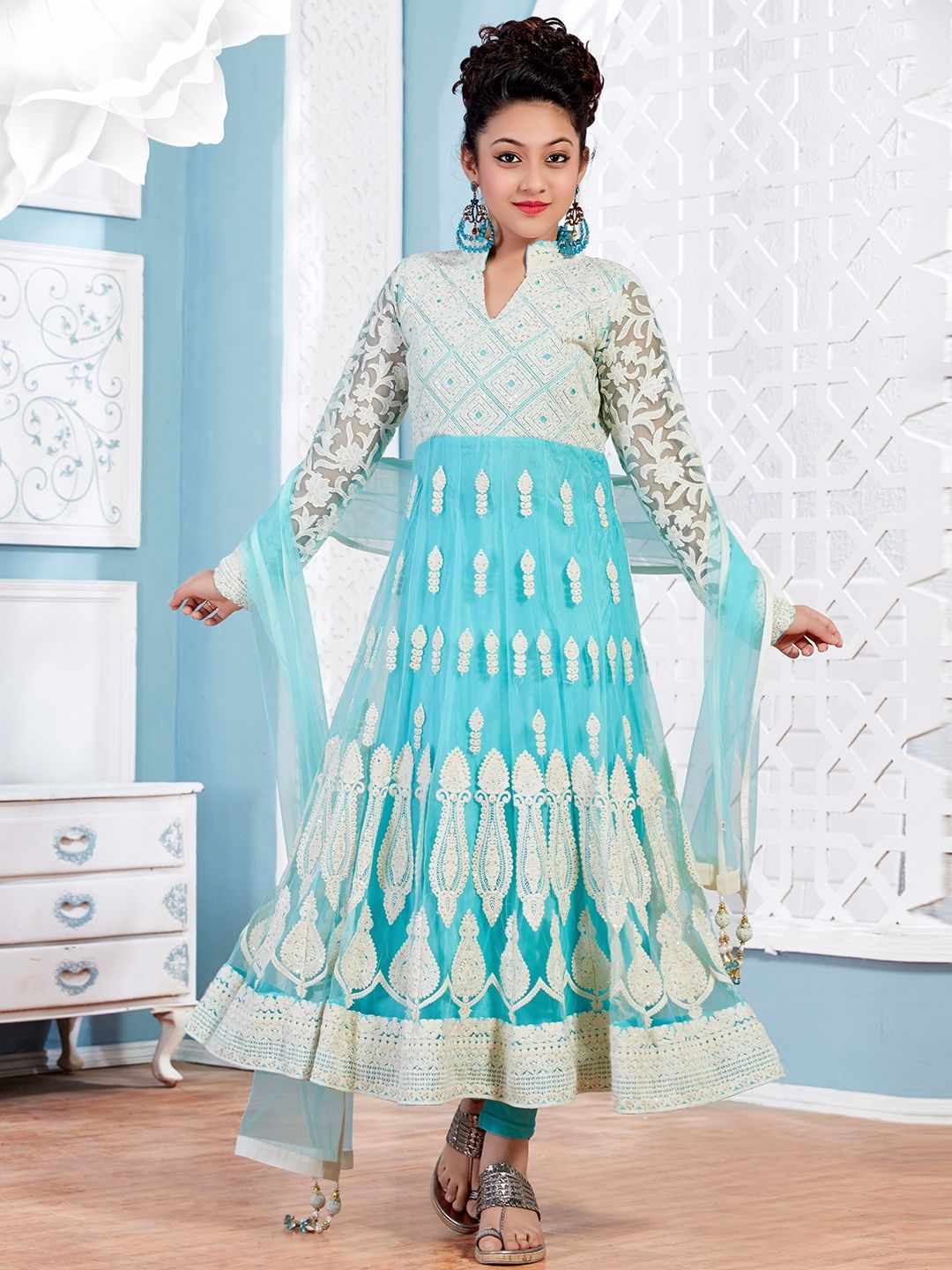 Wedding Wear Light Blue Net Anarkali Designer Girls Salwar Suit ...