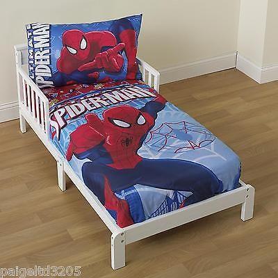 Marvel Ultimate Spider Man 4 Pc Toddler Bedding Bed Set
