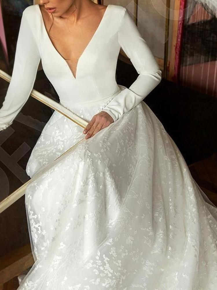 onlybridals Vintage Long Sleeve Lace Satin Wedding Dress Sexy Deep V Neck Backless Bride Dress for Wedding 9