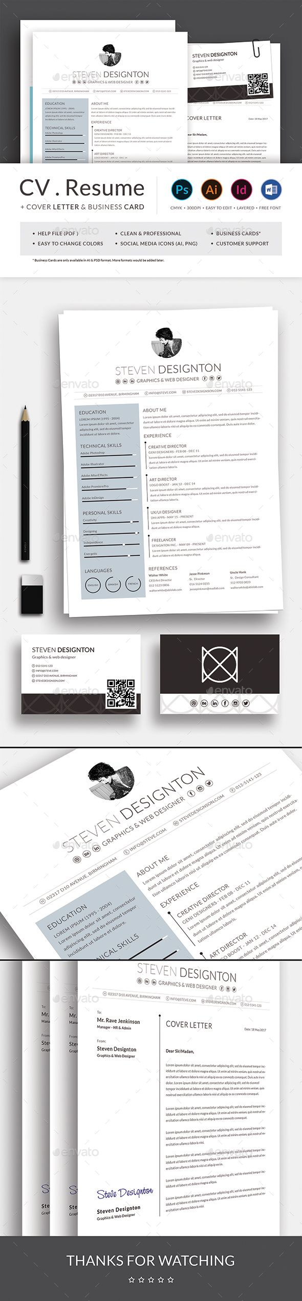 Resume Cv With Business Card Business Card Template Psd Resume Cv Resume Cover Letter Template