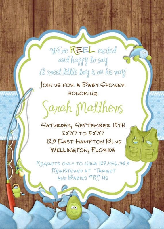 Rustic Fishing Baby Shower Invitation Gone Fishing By 3peasprints