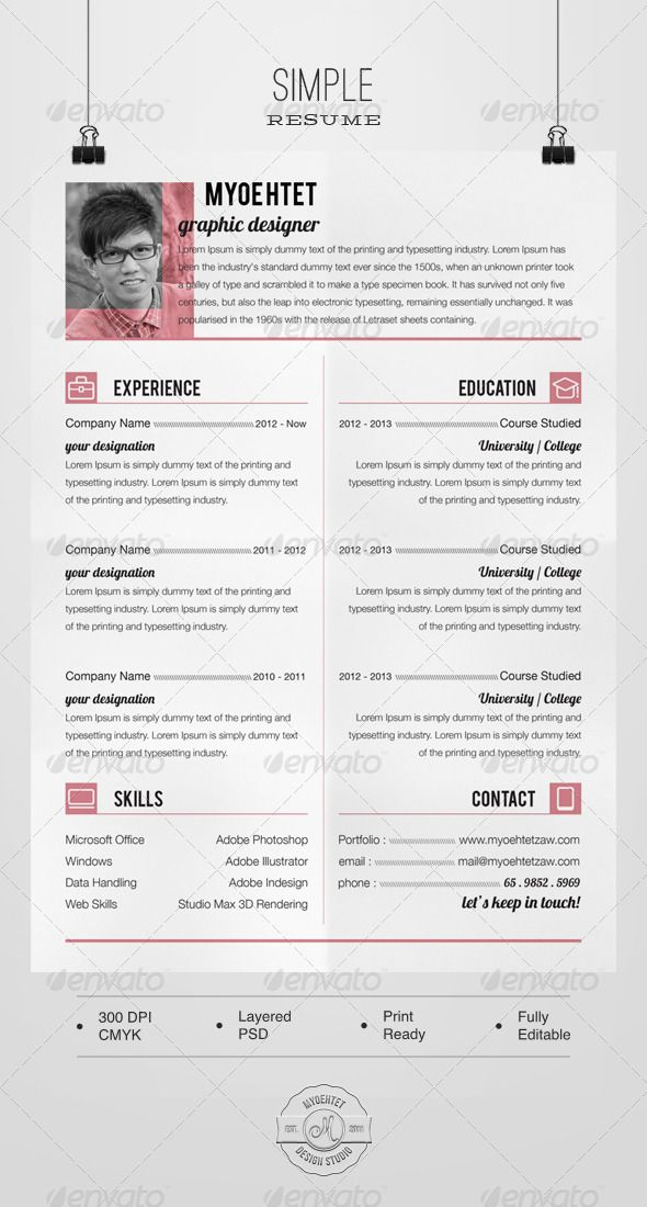 simple resume  graphicriver design in psd format file a4