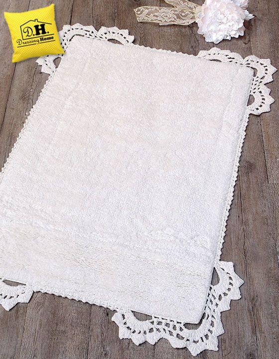 Tappeto bagno shabby chic in colore bianco con angoli